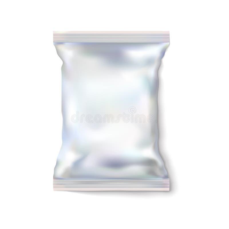 Weißer oder heller leerer Satz des Modells, Folie Silbriger Lebensmittelverpackungsimbiß für Chips, Süßigkeit und andere Produkte stock abbildung