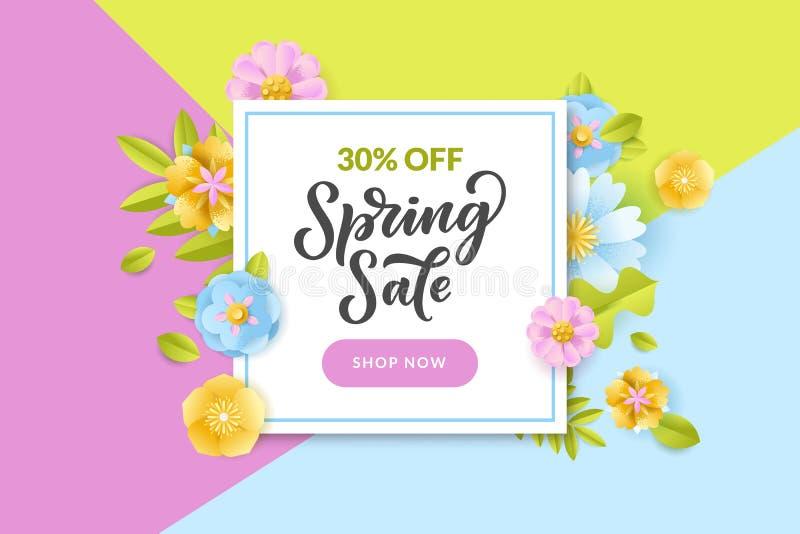 Weißer Rahmen des Blumenfrühlinges auf buntem Hintergrund Vektorrabatt- und -verkaufsfahne, Flieger, Plakatschablone stock abbildung