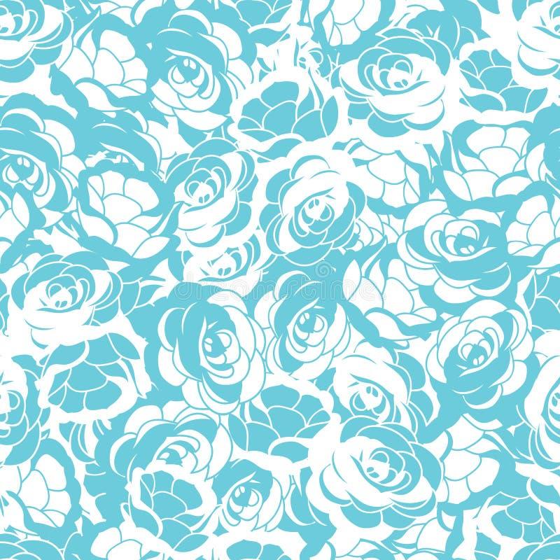 Weißer und Vektor-Musterhintergrund des Türkises nahtloser Rosen-Blume vektor abbildung