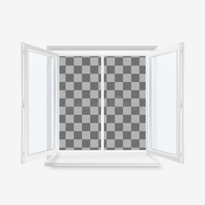 Weißes offenes Büro-Plastikfenster Fenster Front View Vektorillustration lokalisiert auf transparentem Hintergrund lizenzfreie abbildung