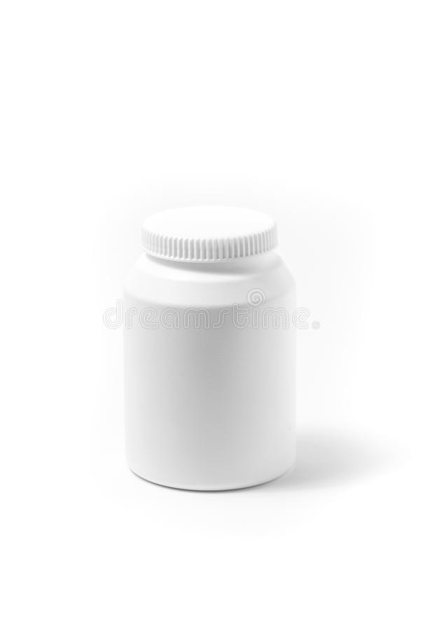 Weißes Tablettenfläschchen der Medizin lokalisiert auf weißem Hintergrund Droge, Illustration lizenzfreies stockfoto