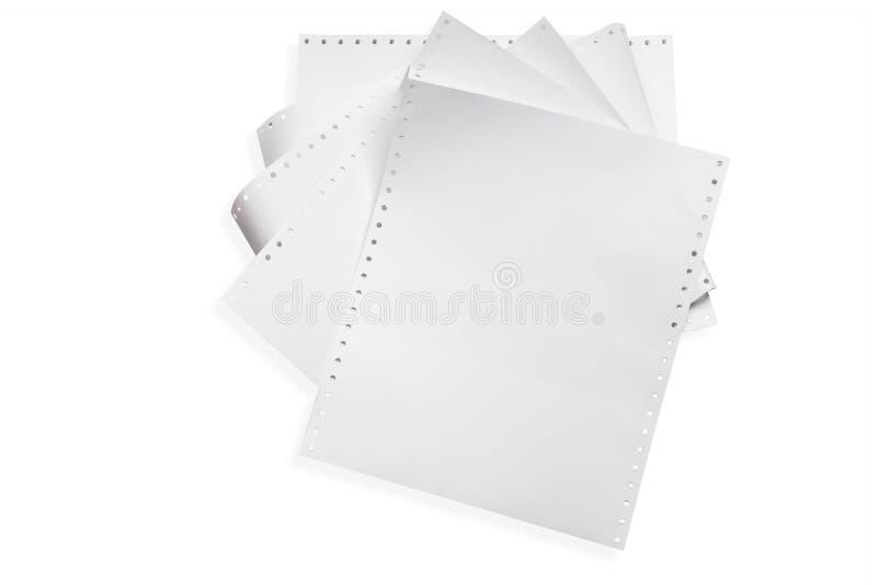 Weißes Traktorpapier oder -Endlospapier, ununterbrochenes Punktematrix-Traktordruckerpapier für Gebrauch mit Punktematrix und Lin stockfotos