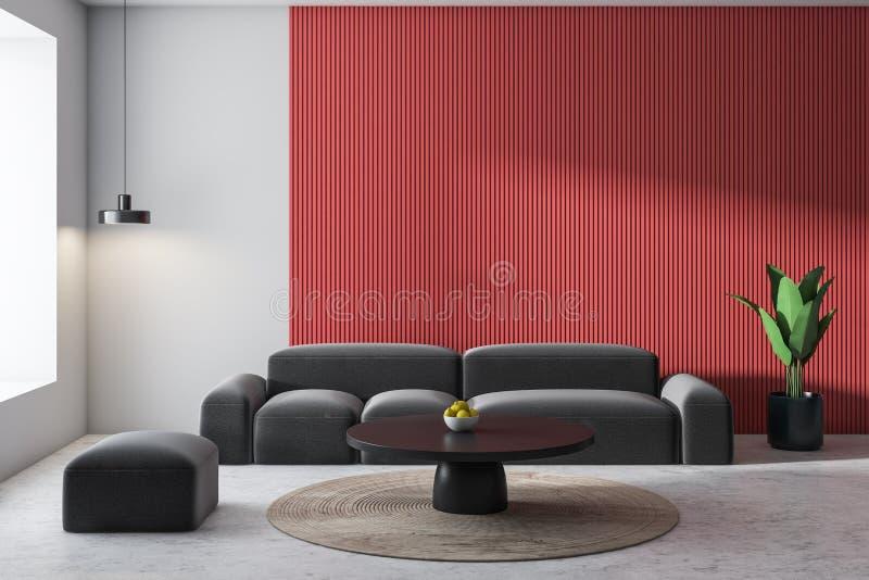 Weißes und rotes Wohnzimmer, graues Sofa stock abbildung