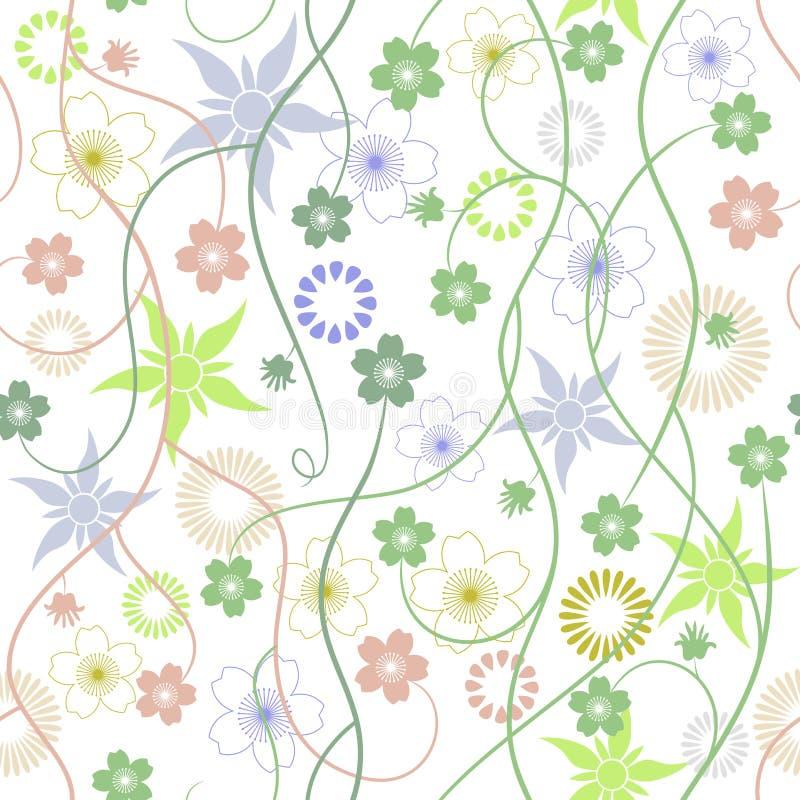Wei?e Blumen der Kirsche und der roten Tulpen Abstrakte Blumen - nahtloser Mustervektor Harmonische Farbkombinationen stock abbildung