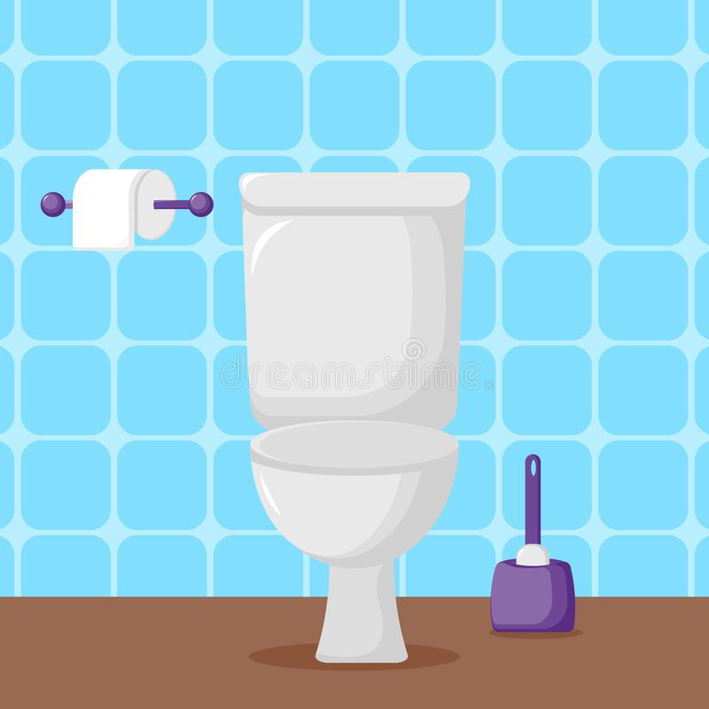 Wei?e Keramiktoilette, Toilettenpapier und B?rste stock abbildung