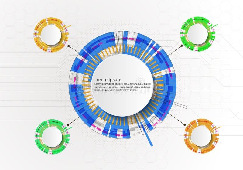Wei?er abstrakter Technologiehintergrund des Kreises mit Kommunikationskonzept-Innovationshintergrund der verschiedenen Technolog vektor abbildung