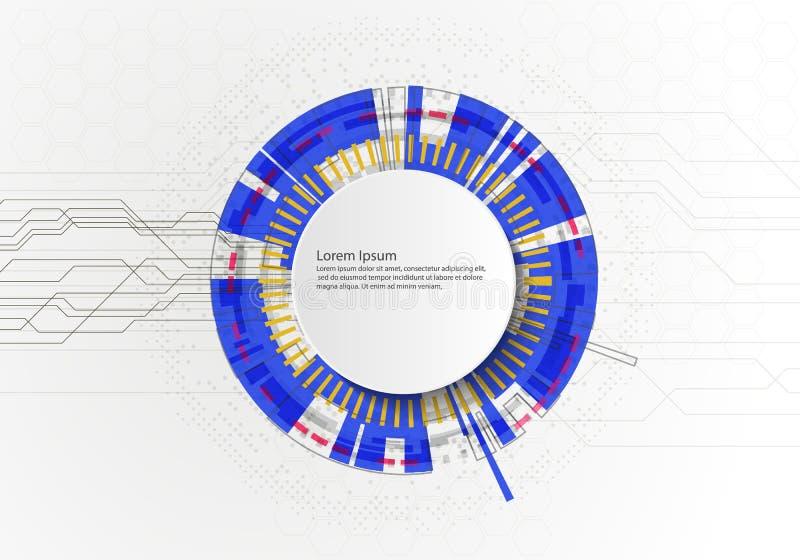 Wei?er abstrakter Technologiehintergrund des Kreises mit Kommunikationskonzept-Innovationshintergrund der verschiedenen Technolog lizenzfreie abbildung