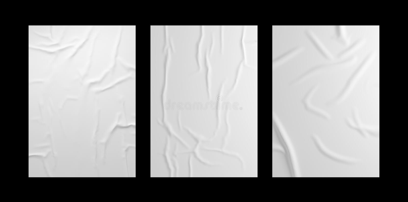 Wei?er geknitterter Plakatschablonensatz Lokalisiertes geklebtes Papiermodell lizenzfreie abbildung