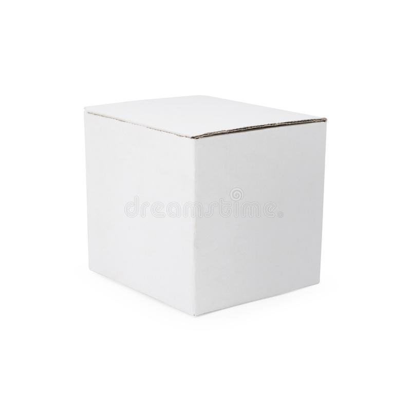 Wei?er Kartonkasten auf lokalisiertem Hintergrund mit Beschneidungspfad Leeres cardbox Paket für Ihren Entwurf vektor abbildung