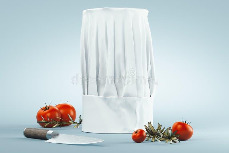 Wei?er Koch Hut oder Toque lokalisiert auf hellem Hintergrund Wiedergabe 3d stock abbildung