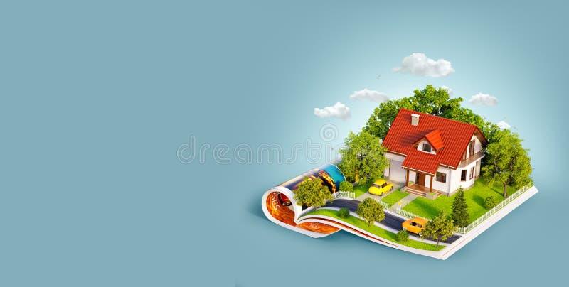 Wei?es Haus des Traums mit wei?em Zaun, Garten und B?umen auf ge?ffneten Seiten der Zeitschrift lizenzfreie abbildung