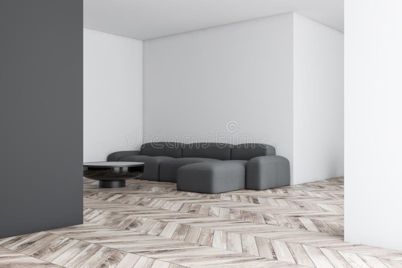 Wei?es und graues Wohnzimmer mit Sofa stock abbildung