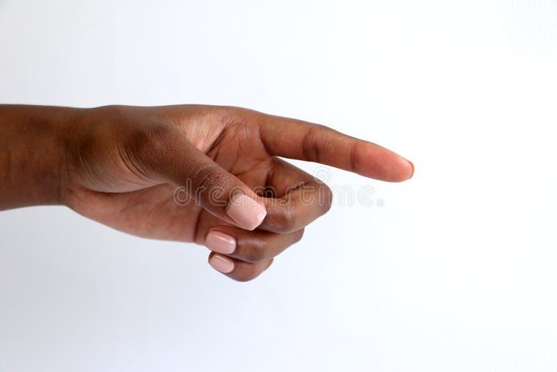 Weiblich, indisches Handzeigen des Schwarzafrikaners lizenzfreies stockfoto