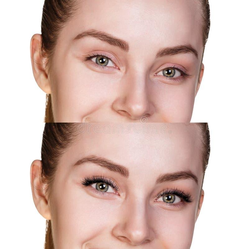 Weibliche Augen vor und nach Wimpererweiterung stockfotografie