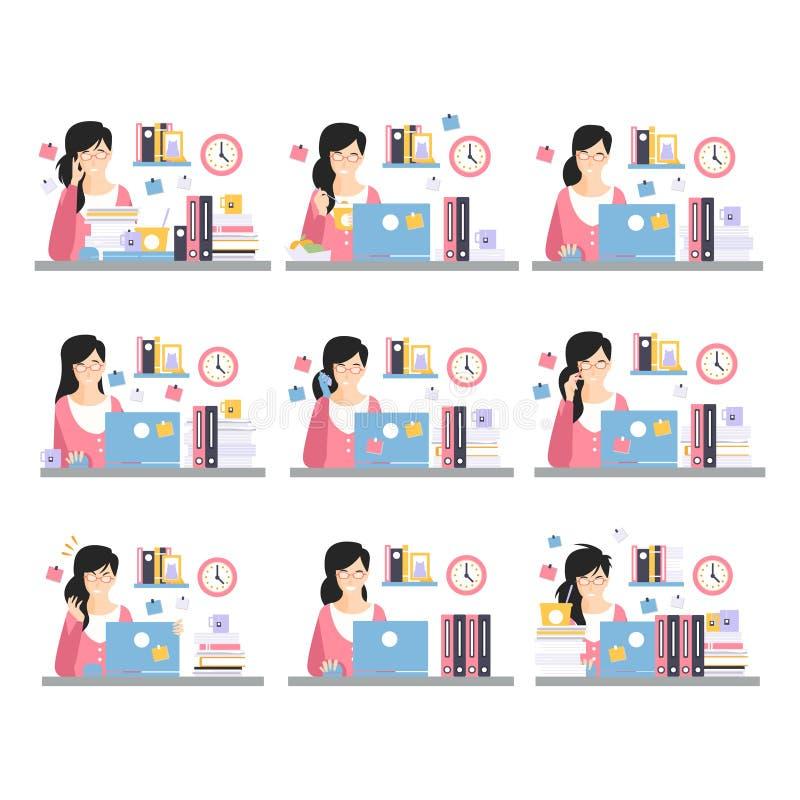 Weibliche Büroangestellt-tägliche Arbeits-Szenen mit verschiedenen Gefühlen, Satz Illustrationen des beschäftigten Tages im Büro lizenzfreie abbildung