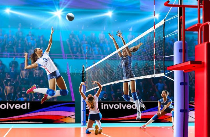 Weibliche Berufsvolleyballspieler in der Aktion auf großartigem Gericht lizenzfreies stockfoto