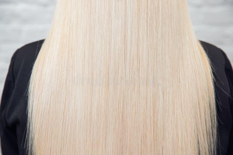 Weibliche blonde Rückseiten der gesunden Haarbeschaffenheit, weißer Hintergrund Konzeptbehandlungssorgfalt lizenzfreie stockfotos