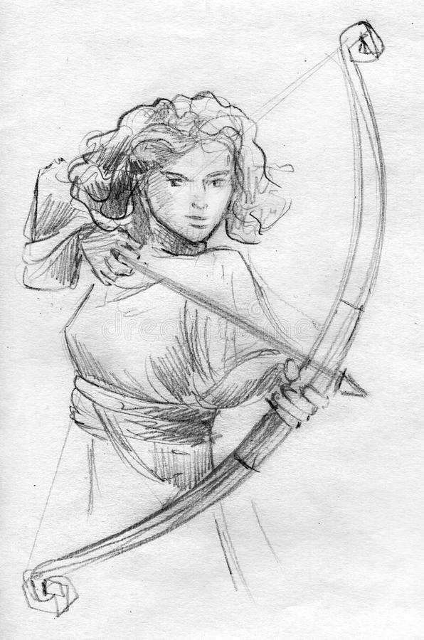 Weibliche Bogenschützebleistiftskizze vektor abbildung