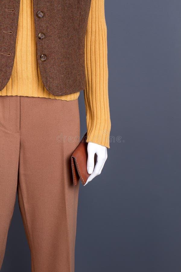 Weibliche braune Kleidung und Geldbörse lizenzfreies stockfoto