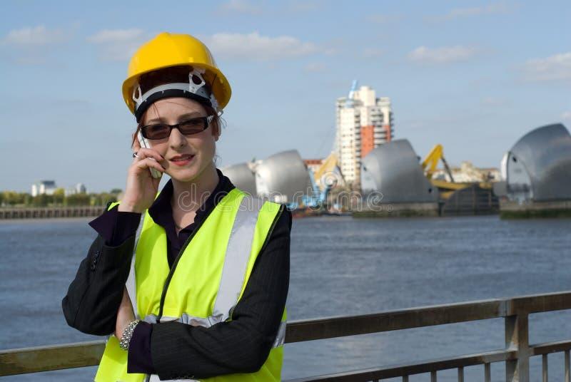 Weibliche contruction Arbeitskraft lizenzfreies stockbild