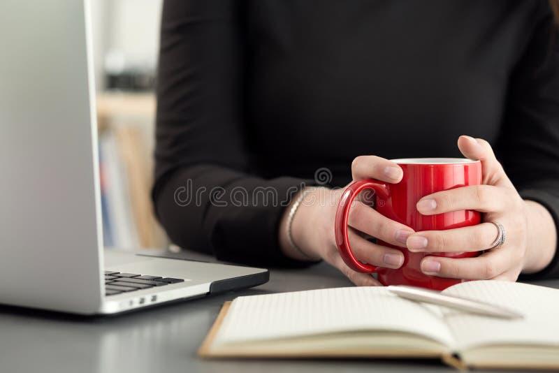 Weibliche Designer in trinkendem Morgentee oder -kaffee des Büros stockbild