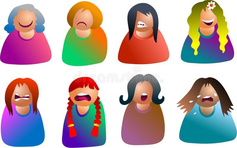 Weibliche Emoticons lizenzfreie abbildung