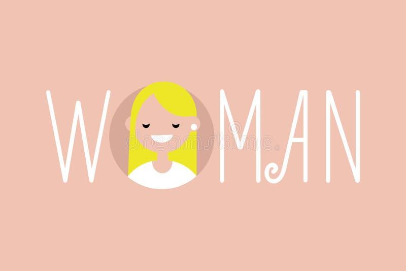 Weibliche erläuterte Zeichen Frau Ein Porträt des blonden Mädchens stock abbildung