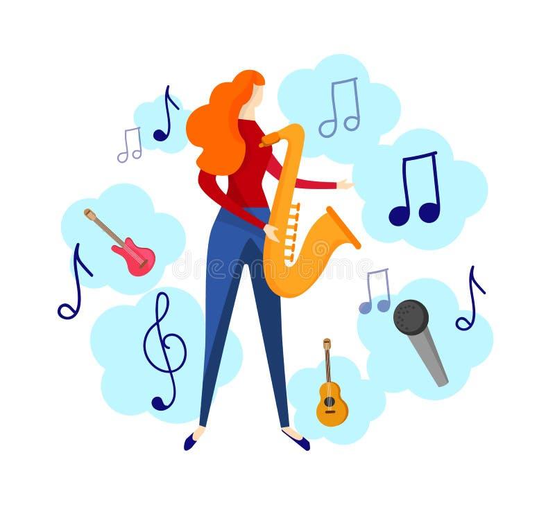 Weibliche Figur, die Jazz, Blau-Musik durch Saxophon spielt stock abbildung