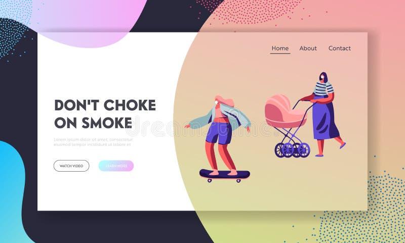 Weibliche Figuren, die schützende Gesichtsmasken tragen Frau mit Kinderwagen, Mädchen-Reitskateboard Industrielle Luftverschmutzu lizenzfreie abbildung