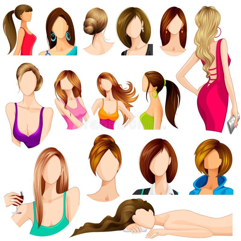 Weibliche Frisur vektor abbildung