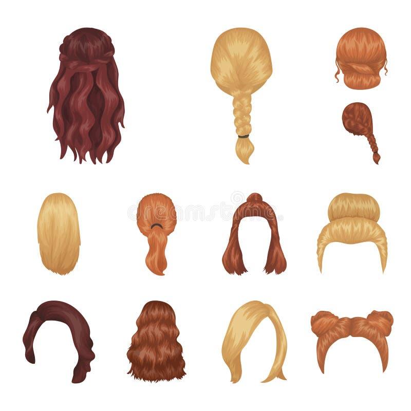 Weibliche Frisurkarikaturikonen in der Satzsammlung für Design Stilvolle Haarschnittvektorsymbolvorrat-Netzillustration stock abbildung