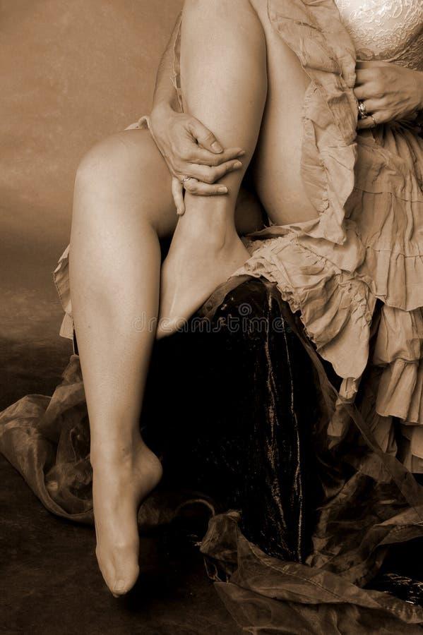 Weibliche Gamaschen stockfoto
