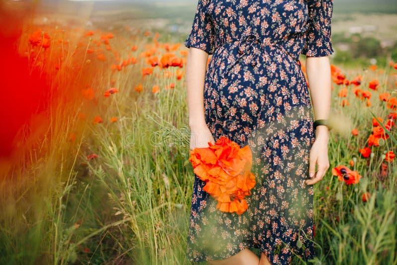 Weibliche Hände, die einen Blumenstrauß der roten Mohnblume halten stockbild