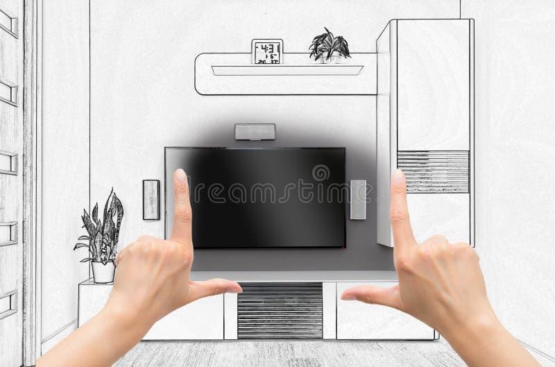 Weibliche Hände, die kundenspezifisches Raumdesign gestalten lizenzfreies stockbild