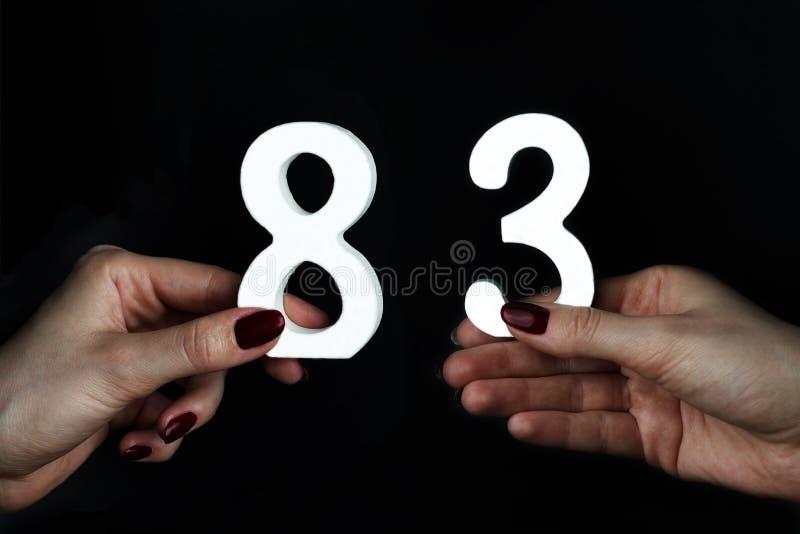 Weibliche Hände, die Nr. dreiundachzig halten stockbild