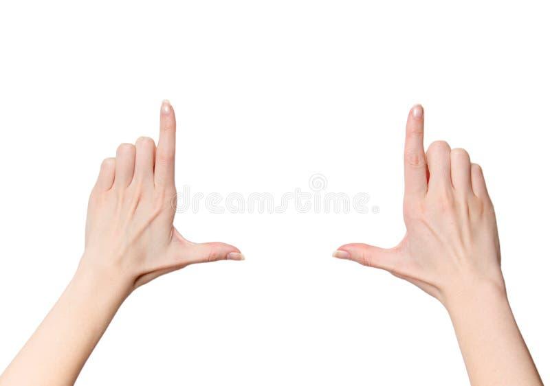 Weibliche Hände, die Zusammensetzung gestalten lizenzfreie stockfotos