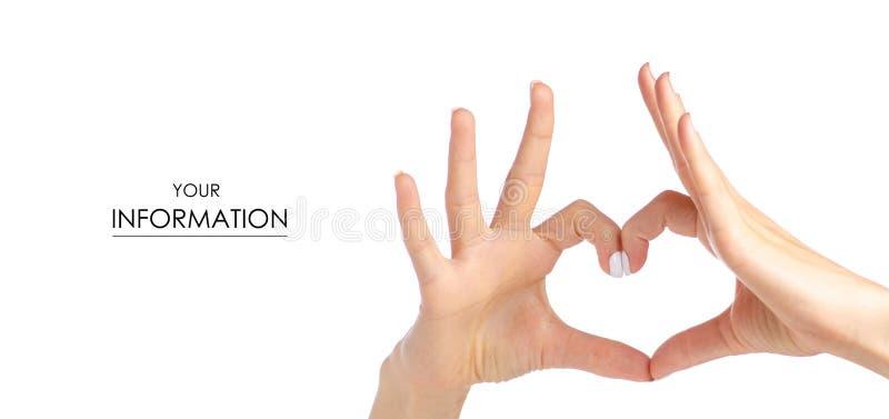 Weibliche Hände in Form von Herzmuster lizenzfreies stockfoto