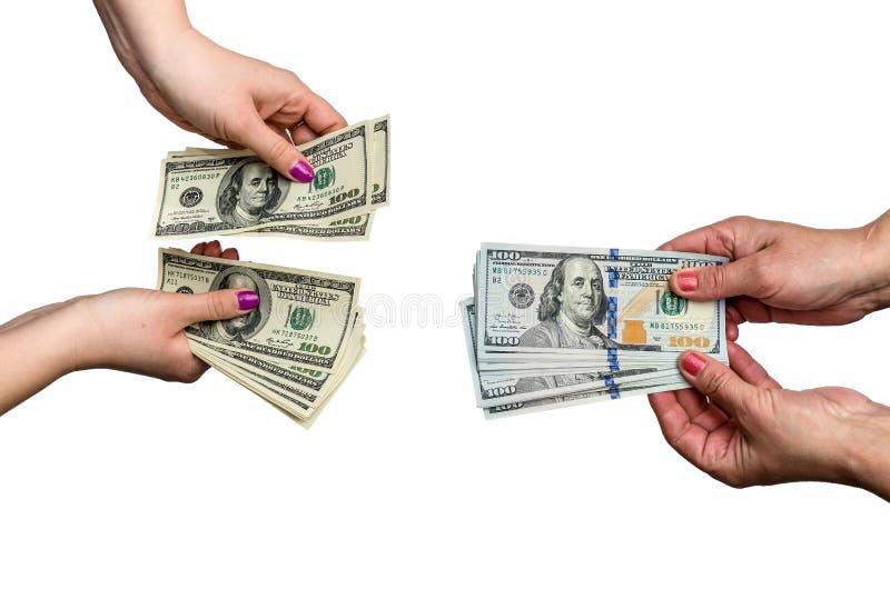 Weibliche Hände mit den Dollar lokalisiert stockfotografie