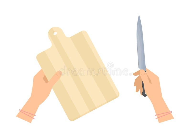 Weibliche Hände mit hölzernem Schneidebrett- und Stahlküchenmesser lizenzfreie abbildung