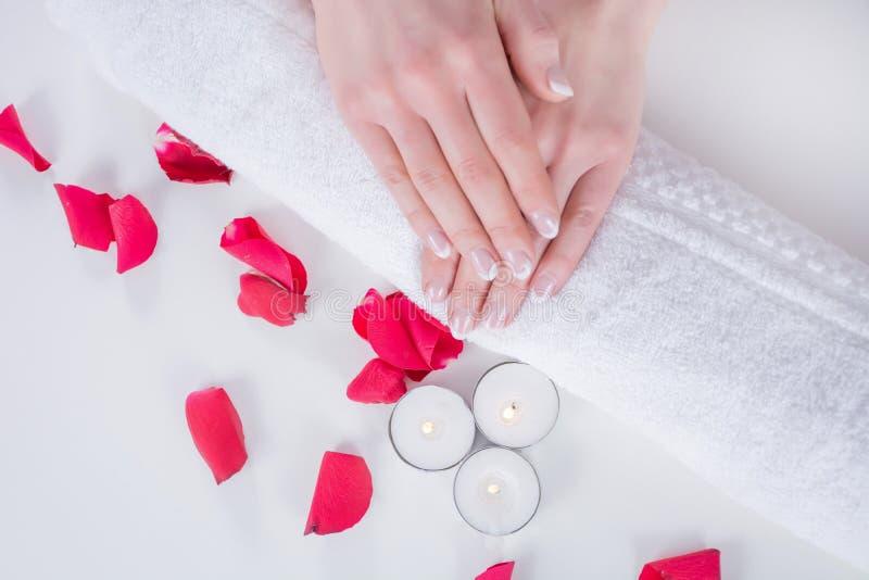 Weibliche Hände mit moderner Art der französischen Maniküre auf Tuch mit den roten rosafarbenen Blumenblättern und Kerze im Schön stockbild