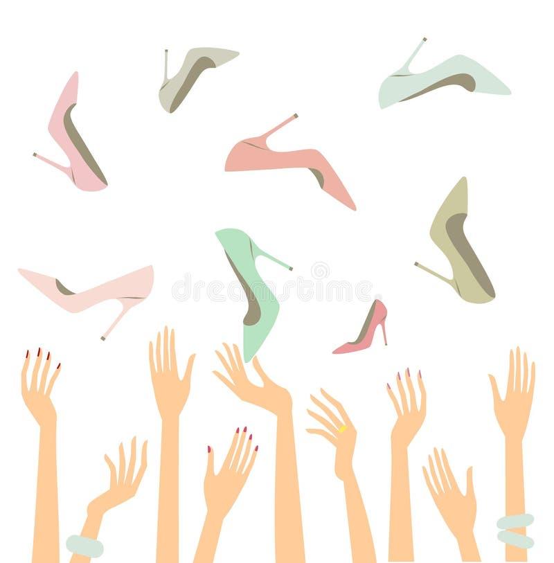 Weibliche Hände mit Schuhen stock abbildung
