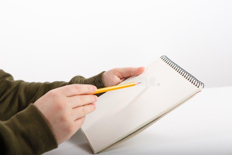 Weibliche Hände mit Stiftschreiben und Funktionsnotizbuch stockbild