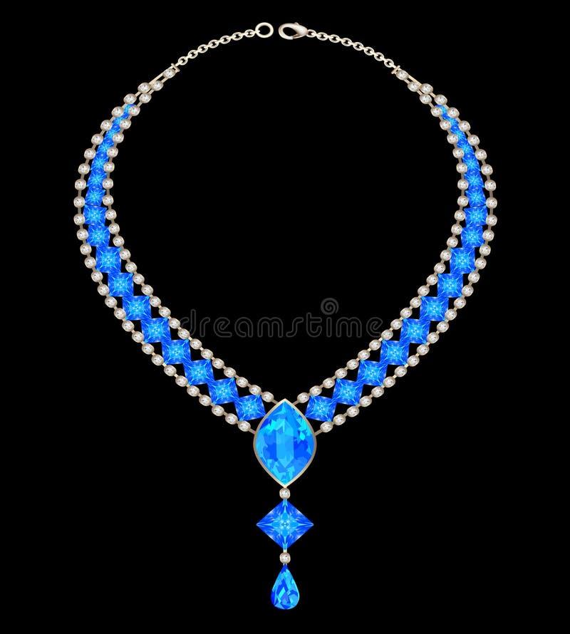 Weibliche Halskette des Schmucks mit blauen Juwelen stock abbildung