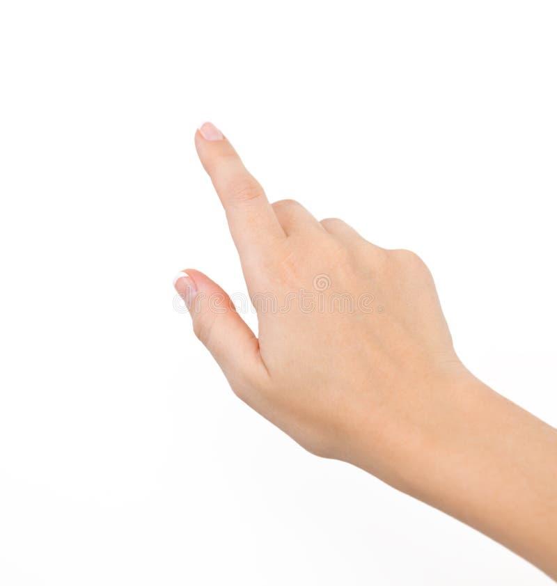 Weibliche Hand auf getrennt stockbilder