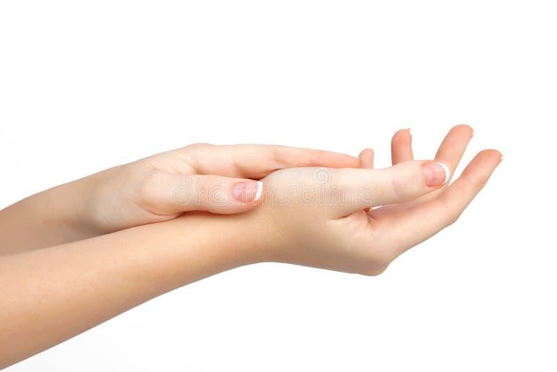 Weibliche Hand auf getrennt lizenzfreies stockbild