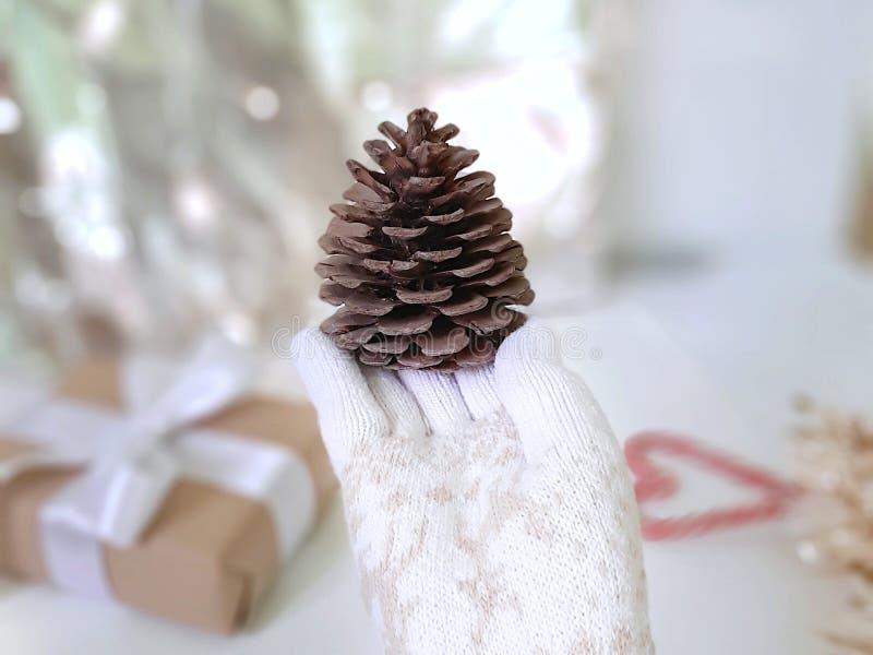 Weibliche Hand in den weißen gestrickten Handschuhen mit großem Kiefernkegel auf Weihnachtswinterhintergrund lizenzfreie stockfotos