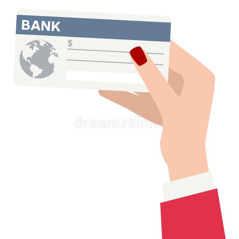 Weibliche Hand, die Bankscheck-flache Ikone hält lizenzfreie abbildung