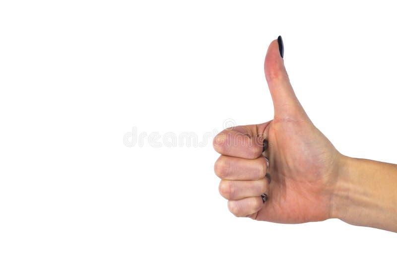Weibliche Hand, die Daumen herauf O.K. alle rechte Sieghandzeichengeste zeigt Gesten und Zeichen Körpersprache lokalisiert auf We stockfotos