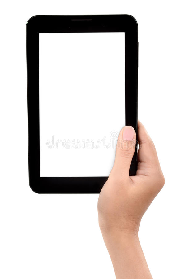 Weibliche Hand, die eine Tablettennote hält stockbilder