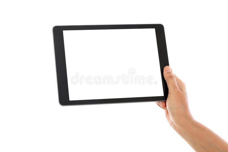 Weibliche Hand, die einen Tablet-Computer hält lizenzfreies stockbild